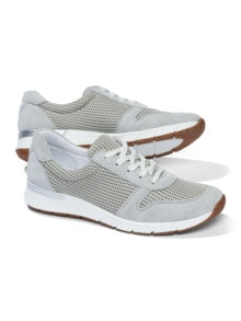 Materialmix-Sneaker Grau/Beige Detail 1