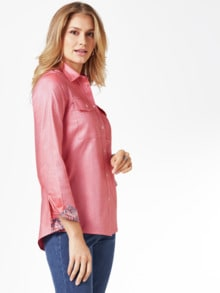 Pima-Cotton-Hemdbluse-Oxford Rot Detail 1