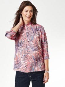 Viskose-Shirtbluse Künstlerdruck Blau/Rot Detail 1