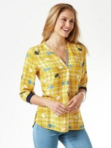 Viskose Shirtbluse Meeresbrise Gelb Detail 1