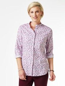 Stretchflanell-Stehkragen-Bluse