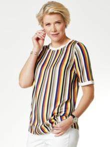 Shirtbluse-Multicolor-Streifen Khaki/Blau Detail 1