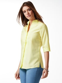 Extraglatt-Bluse Kelchkragen Gelb Detail 1