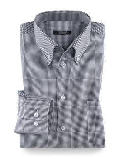 Extraglatt-Hemd Soft Twill Hahnentritt Grau Detail 1