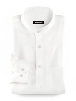 Stehkragen-Leinenhemd Weiß Detail 1
