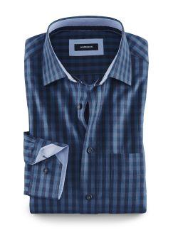 Leichtflanell-Hemd Vichykaro Blau Detail 1