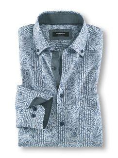 Softcotton-Hemd Paisley Blau Detail 1