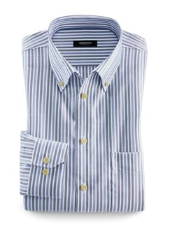 Extraglatt-Hemd Twillstreifen Blau Detail 1