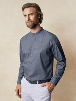 Stehkragen Ahoi-Shirt Blau/Weiß Detail 2