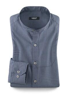 Stehkragen Ahoi-Shirt Blau/Weiß Detail 1