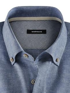 Baumwoll-Seiden-Hemd Uninah Blau Detail 3