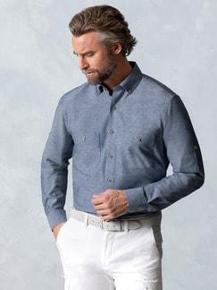 Baumwoll-Seiden-Hemd Uninah Blau Detail 2