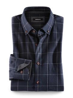 Flanell-Hemd Cashmere-Blend Fensterkaro Bla Detail 1