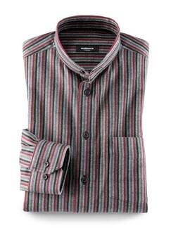 Thermoflanell-Hemd Stehkragen Streifen Grau/Rot Detail 1