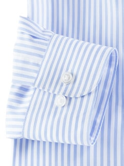 Extraglatt-Hemd Walbusch-Kragen Streifen Azur Detail 4