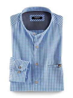 Stehkragen Wiesenhemd Karo Blau Detail 1