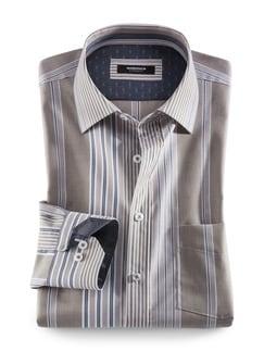 Extraglatt-Hemd Toskana Streifen Beige Detail 1