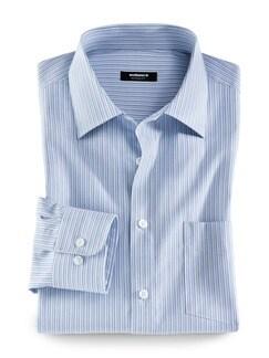 Extraglatt-Hemd Kent-Kragen Streifen Blau Detail 1