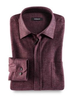 Flanell-Hemd Reißverschluss Uni Rot Detail 1