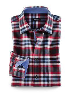 Winter-Oxfordhemd Karo Rot/Anthr. Detail 1