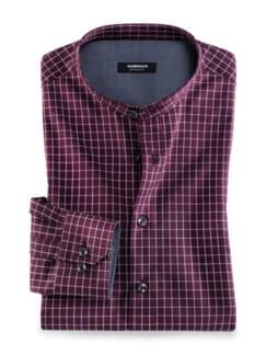 Fensterkaro Shirt Bordeaux Detail 1