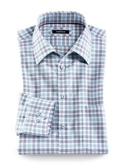 Baumwoll-Seiden-Klimahemd Karo Weiß/Blau Detail 1