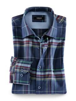 Extraglatt-Hemd Oxford Karo Gruen/Blau Detail 1