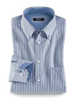 Extraglatt-Hemd Button Down Streifen Blau Detail 1
