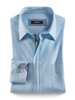 Reißverschluss-Hemd Tropical Aquablau Detail 1