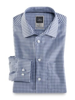Extraglatt-Hemd Premium Karo Blau Weiss Detail 1