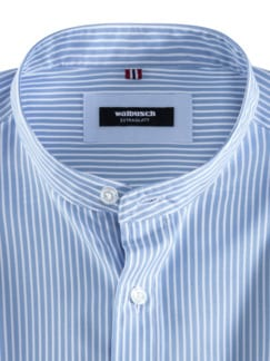 Stehkragen-Hemd Extraglatt Streifen Blau Detail 3