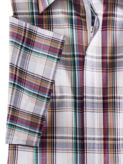 Reißverschluss-Hemd Tropical Weiß/Rot/Safran Detail 4