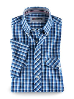 Klepper-Kurzarm-Hemd Coolmax Blau/Azur Detail 1