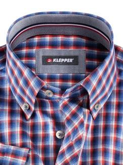 Klepper-Kurzarm-Hemd Coolmax Blau/Orange Detail 4
