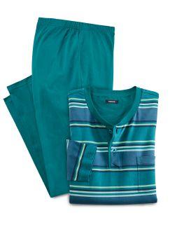 Streifen-Pyjama Aqua Detail 1