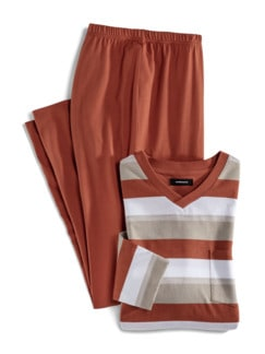 V-Pyjama Terra Sand/Ziegelrot Detail 1