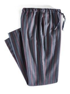 Softflanell Pyjamahose Streifen Marine Detail 1