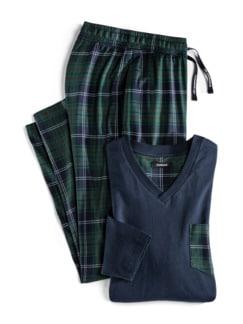 Blackwatch-Pyjama Marine/Grün Detail 1