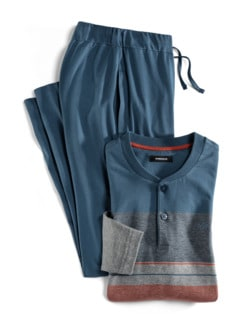 Serafino-Schlafanzug Everyday Rauchblau/Orang Detail 1