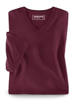 T-Shirt V-Ausschnitt Burgund Detail 1