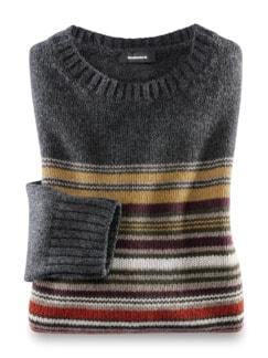 Streifen Pullover Baby Alpaka Dunkelgrau Detail 1