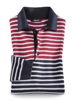 Polo-Pullover Segeltörn Rot gestreift Detail 1