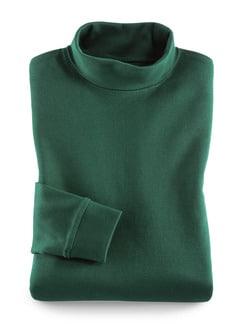 Rollkragen-Shirt Flaschengrün Detail 1