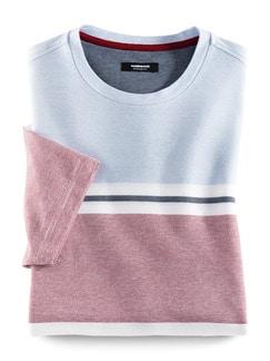 Maritim-Shirt Extraglatt Hellblau/Weiß/R Detail 1