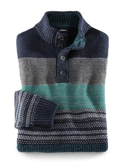 Troyer Mouline-Streifen Blau/Smaragd Detail 1