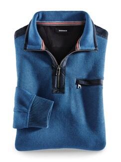 Wohlfühl-Pullover Bedford Mittelblau Detail 1