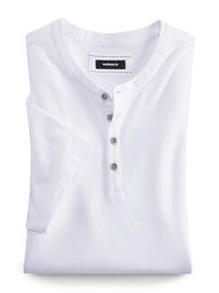 Henley Shirt Kurzarm Weiß Detail 1