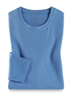 Langarm-Shirt Rundhalsausschnitt Mittelblau Detail 1