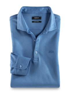 Premium Hemdenpolo SUPIMA Mittelblau Detail 1