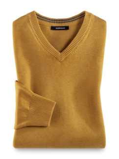 V-Pullover Cashmere Touch Safran Detail 1